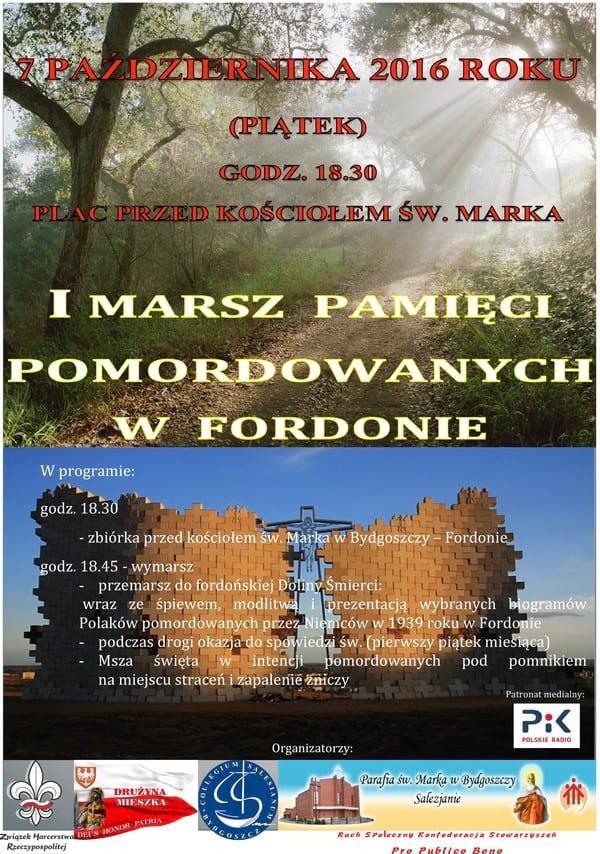 """Plakat Marsz Pamięci pomordowanych w Fordońskiej """"Dolinie Śmierci"""""""