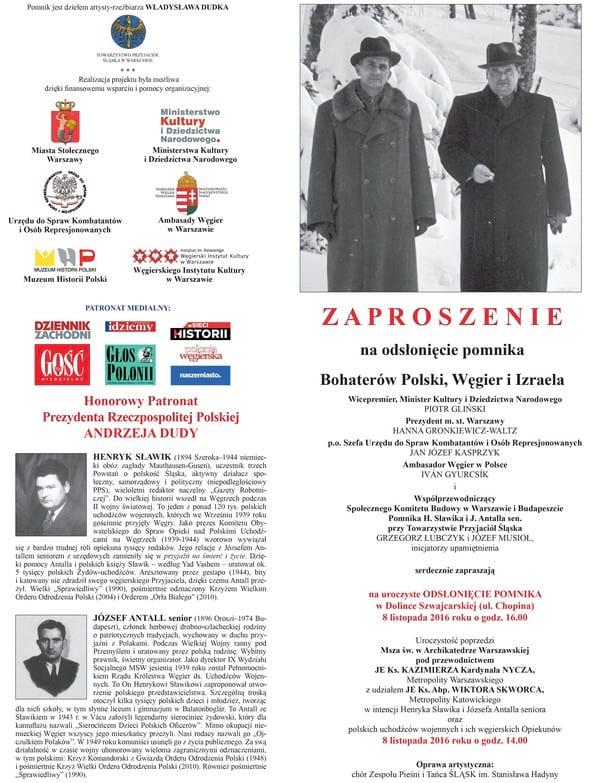 Plakat odsłonięcie pomnika Bohaterów Polski, Węgier i Izraela