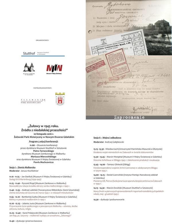"""Plakat - zaproszenie """"Żuławy w 1945 roku. Źródła z niedalekiej przeszłości"""""""