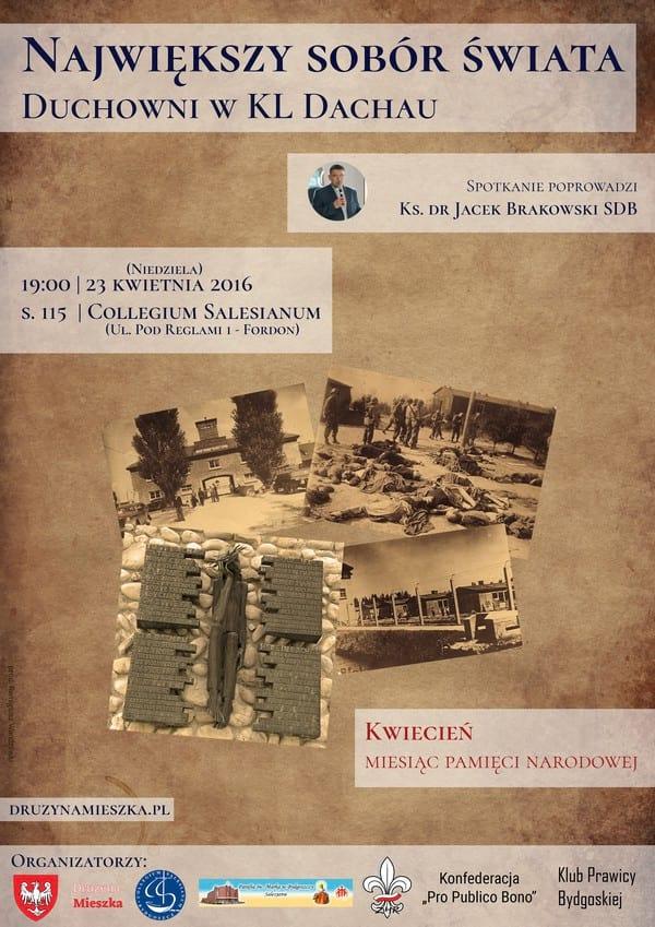 """Plakat """"Największy Sobór Świata, czyli duchowni w KL Dachau"""""""