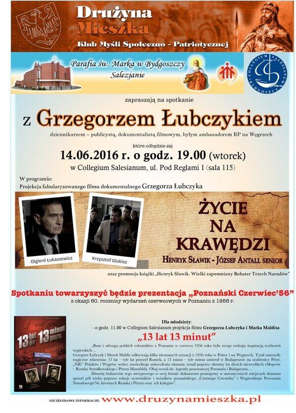 Plakat Spotkanie z Grzegorzem Łubczykiem 14.06.2016 r. w Collegium Salesianum w Bydgoszczy