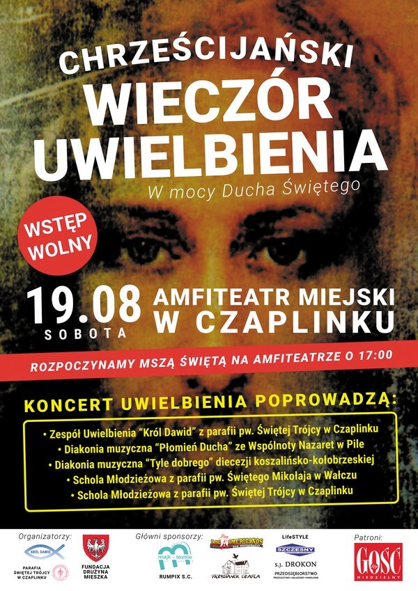 Plakat Chrześcijański wieczór i koncert uwielbienia – Czaplinek