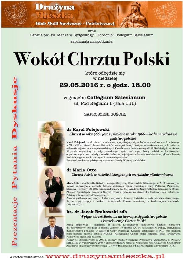 """Plakat Spotkanie """"Wokół Chrztu Polski"""""""